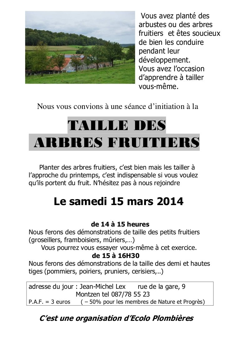 Taille des fruitiers 2014
